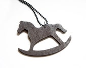 SALE Flat Wooden Rocking Horse Necklace - Cute Gift Idea