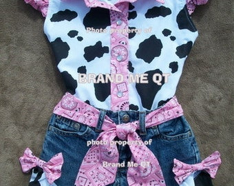 Beautiful PINK  BANDANA upcycled cowgirl  shorts outfit with custom made matching blouse.  size 6 - 10