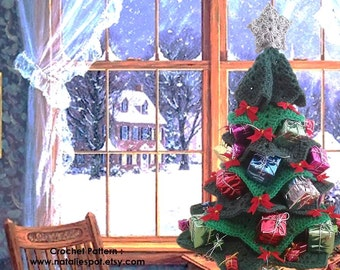 """INSTANT DOWNLOAD Small Centerpiece Christmas Tree  -  Crochet Pattern 18"""" high"""