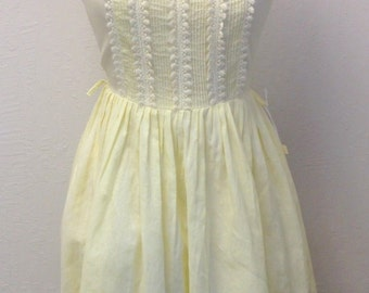 Vintage NOS 50s Yellow Lace Summer Dress WITH TAGS 1950s Bust 36 Union Tag Size M Medium 26 Waist