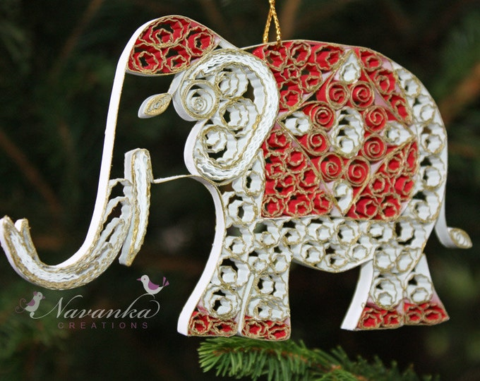 Paper Quilling Elephant  Ornament , White  and Gold Elephant Ornament in a gift box, Christmas, Indian Wedding gift, Teachers Appreciation