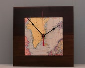 Map Clock, Father's Day Gift, Adventure Clock, Reclaimed Wood, Eco-Friendly