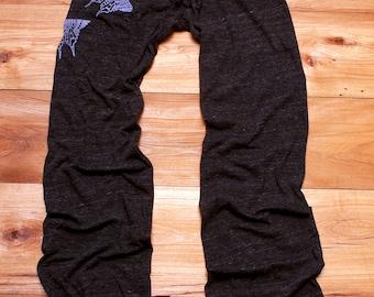 flutterby Long Yoga Pants, Lounge Pants, Butterfly Print, S,M,L,XL