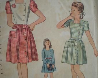 1942 WWII Era Simplicity Side Button Dress, in 3 Styles, Sewing Pattern 2060, Size 14, Bust 32, Uncut