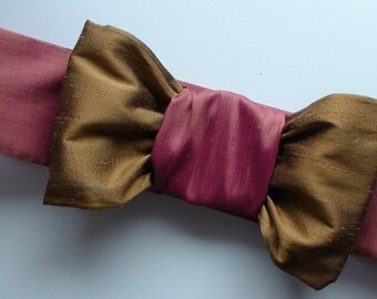 HOLIDAY GIFT SALE!  Rose Taupe Silk Bow Cinch Belt Handmade Christmas Gift by MaryGwyneth Fine Wearable Art