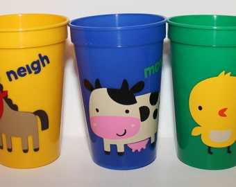 Farm Animal Plastic Cups- Party Favor- Lot of 10