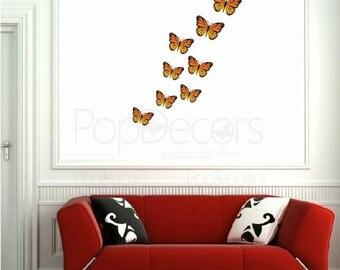 Re-positionable Monarch Butterflies Printed Wall Decals - Custom Wall Art Decor Wall Sticker Butterfly Vinyl Baby Gift Idea prt0001