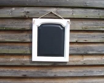 Hanging Chalkboard - Framed Chalkboard - White Rustic Wedding - Upcycled Home - Kitchen Blackboard - White Chalkboard - Unusual Home Decor