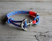anchor bracelet,nautical bracelet,sailing jewelry,paracord bracelet,men's bracelet,sailrope bracelet,gift for men,neon bracelet,stylish,