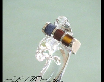 Sterling Silver Ring / Pinkie Stacking Child's Ring Bar Inlaid w/Lapis Carnelian Tiger Eye Boho Mod Unisex 3.95 Grams Size 4.75 Mexico 1970s