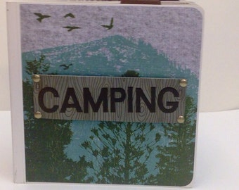 Camping  scrapbook- chunky 5x5 board book premade scrapbook hiking boy scouts