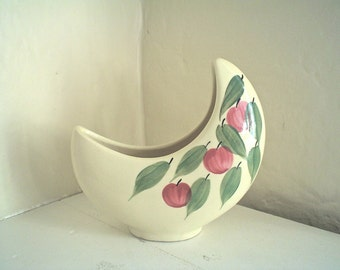 Crescent Shape Planter with Hand Painted Cherries Vintage 1950s Fruit Kitsch