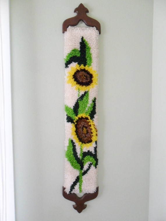 Items Similar To Vintage Latch Hook Wall Hanging Rug Retro
