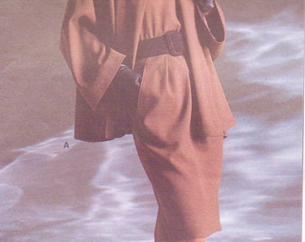 80s Anne Klein Womens Swing Jacket or Coat, Skirt & Top Vogue Sewing Pattern 1915 Size 8 10 12 Bust 31 1/2 to 34 UnCut American Designer