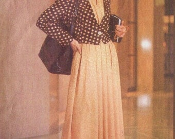 90s Anne Klein Womens Above Hip Jacket Peplum Wrap Bouse & Skirt Vogue Sewing Pattern 2524 Size 12 14 16 Bust 34 36 38 Uncut