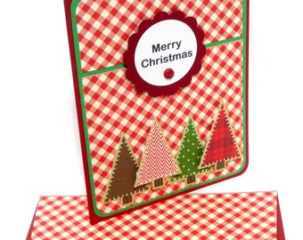 Christmas Red Gingham Card with Matching Embellished Envelope