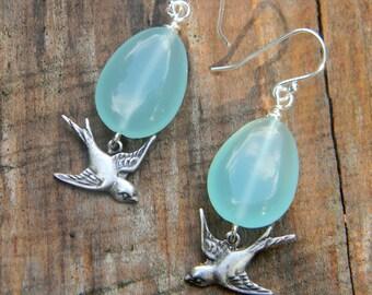 Dangle earrings aqua blue glass earrings handmade beaded jewelry bird earrings icy blue teardrop earrings nature inspired jewellery