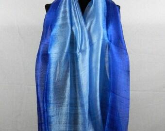 """2 Tone 100 % Thai Raw Pure Silk Scarf Shawl Wrap 24""""x62"""" Large Unisex in Blue TT1"""