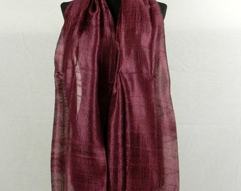 "100 % Thai Raw Pure Silk Scarf Shawl Wrap 24""x62"" Large in Red Wine H31"