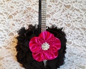 Black and Fuchsia Petal Flower Girl Basket with Rhinestone Mesh handle and Trim, Fuchsia and Black Basket
