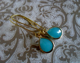 Gorgeous Milky AQUA BLUE Glass Drop EARRINGS // Faceted Glass // Gold // Framed Glass // Dangle // Bridesmaid Earrings // Bridal // Simple