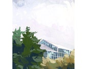 """5x7"""" print - small landscape - """"Landscape with Greenhouse"""""""