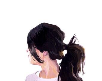 """5x7"""" hair art - ponytail print - """"Ponytail 1"""""""