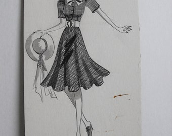 Original Art School Ink Fashion Drawing from 1933-35
