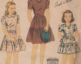 Sz 6-1940's Girl's Dress Simplicity 4481 Breast 24""