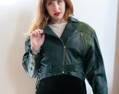 Reserved for Jeanne -VTG 80s Hunter Green Leather and Suede Jacket M