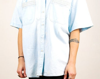 80s 90s Pearl Beads Acid Wash Denim Collar Shirt Oversized