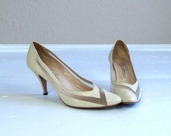 vintage 80s cream MESH avant garde OLEG CASSINI Heels 8 leather pumps stilettos shoes