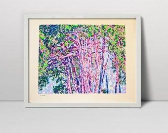"Pine Trees Original Screen Print Hand Printed Serigraph 23"" landscape fine art hand pulled made silkscreen printing screenprint painting"