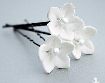 Wedding bridal hair pins - Stephanotis Jasmin flowers - wedding accessories - bridal hair piece - set of 3