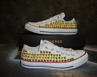 Studded Spike Converse Low Top White with Gold (ONE SIDED SHOES)