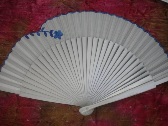 SILVER NAVY Hand Painted Wooden Folding Hand Fan  by Kate Dengra Spain