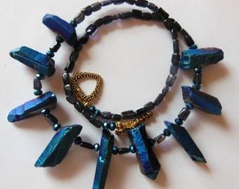 Royal Blue gemstone handmade necklace 585