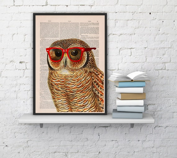 Summer Sale Cool Owl with sunglasses Printed on Vintage Book sheet -wall art,book print, Nursery wall art ANI035