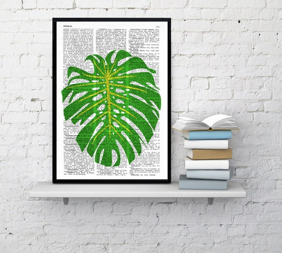 Summer Sale Wall art Botanical studio Monstera leaf illustration print on Vintage Dictionary page Tropical green Giclee BFL104