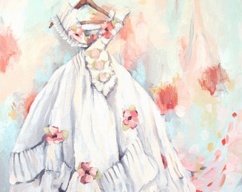 Vintage Dress Painting - Shabby Chic Romantic - Print - Pink and Blue