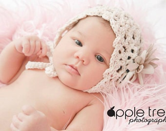 Crochet Pattern for Chantilly Baby Bonnet Hat - 4 sizes, newborn to child - Welcome to sell finished items