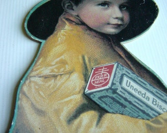 Vintage Nabisco Uneeda Biscuit Advertising Sign Product Display Board