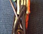 Handmade Walnut Knitting Needles - Size 9 with Skull Tops