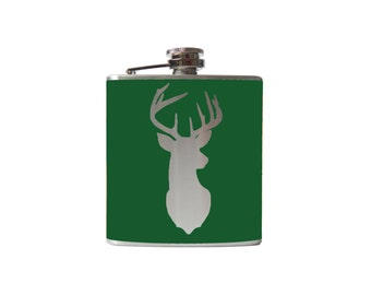 Deer Flask- alcohol, whiskey animal hunting- Personalized Custom - YOU pick COLOR