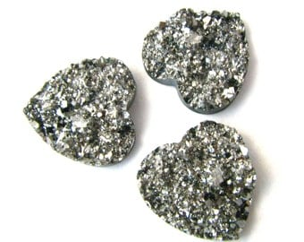 "3 Large Resin Druzy Heart Cabochons - Pewter Silver Faceting - 20mm x 20mm / 3/4"" Across"