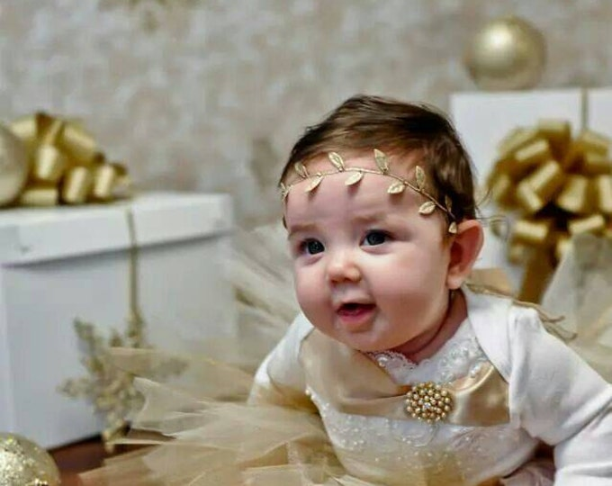 Baby Angel Wings Gold Coming home outfit Lace Layette One piece Bodysuit