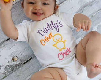 Baby Girl Clothes Embroidered With Daddy S Other Chick