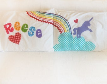 Rainbow Unicorn Personalized Pillow Case Pair
