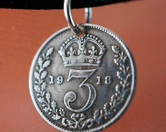 3 pence silver coin necklace. Silver Coin Charm . England charm. fob . jewelry.  No.001088