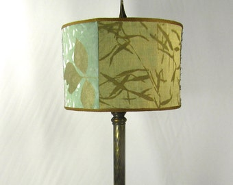 Lamp Shade Cylinder Hand Painted Fabric Custom Made One of a Kind NYC